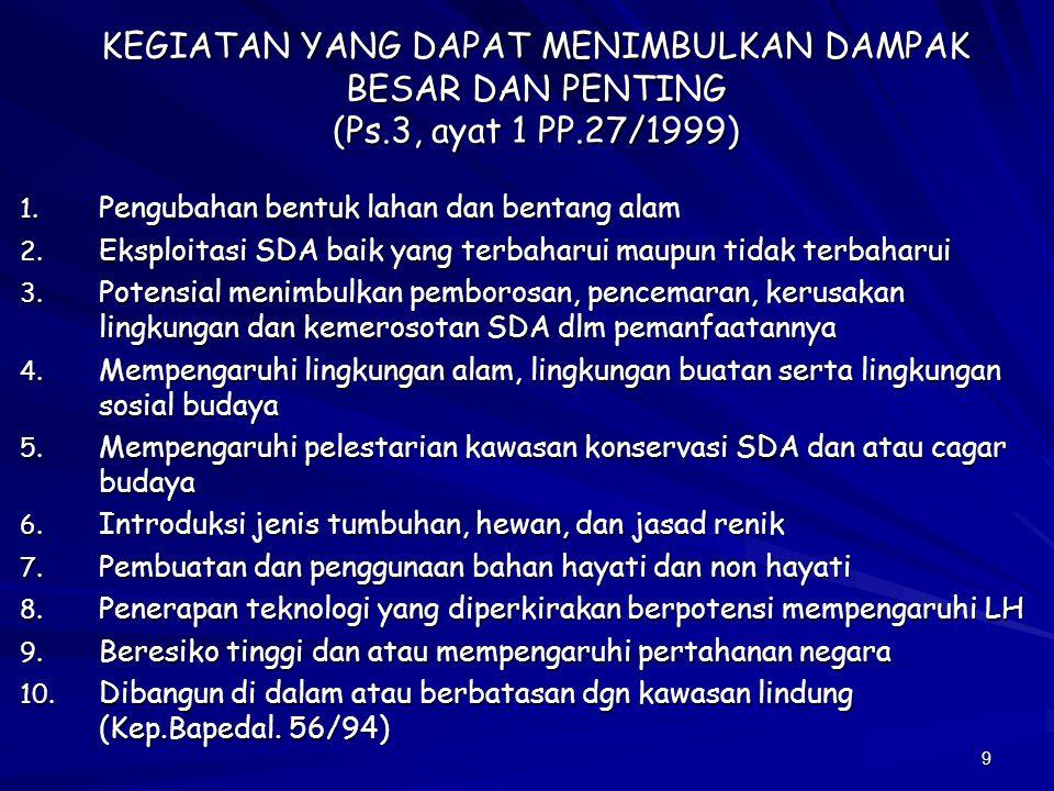 9 KEGIATAN YANG DAPAT MENIMBULKAN DAMPAK BESAR DAN PENTING (Ps.3, ayat 1 PP.27/1999) 1. Pengubahan bentuk lahan dan bentang alam 2. Eksploitasi SDA ba