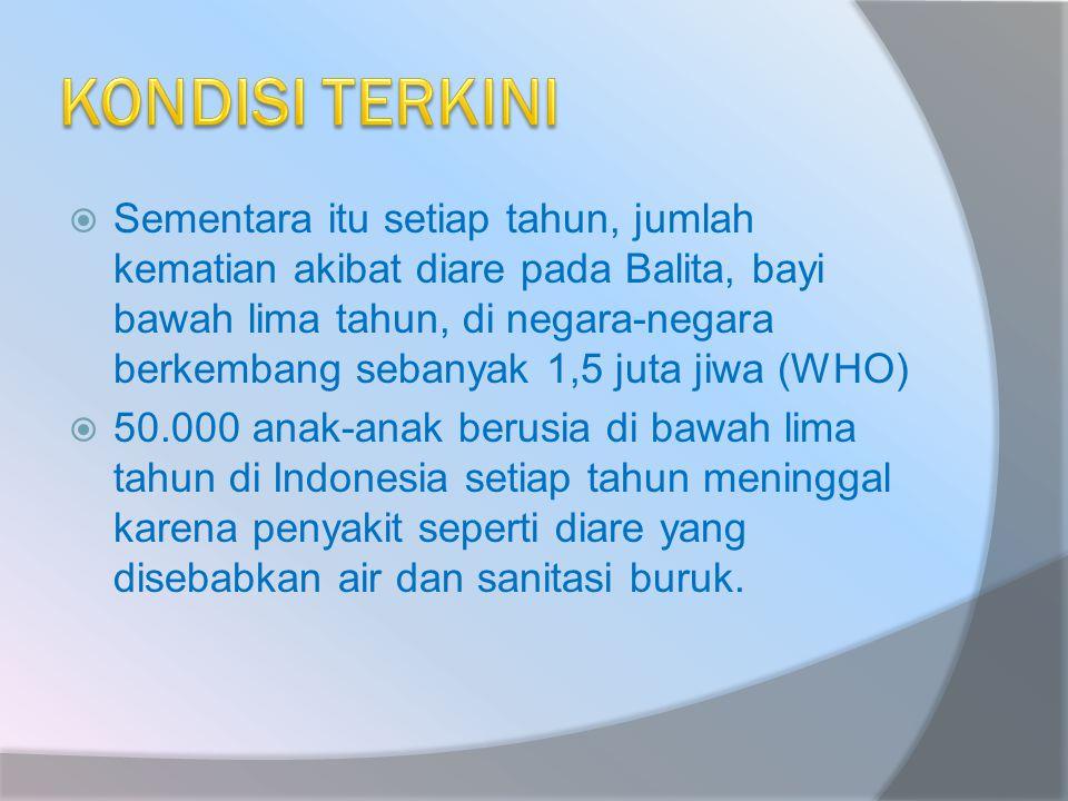  Sementara itu setiap tahun, jumlah kematian akibat diare pada Balita, bayi bawah lima tahun, di negara-negara berkembang sebanyak 1,5 juta jiwa (WHO)  50.000 anak-anak berusia di bawah lima tahun di Indonesia setiap tahun meninggal karena penyakit seperti diare yang disebabkan air dan sanitasi buruk.