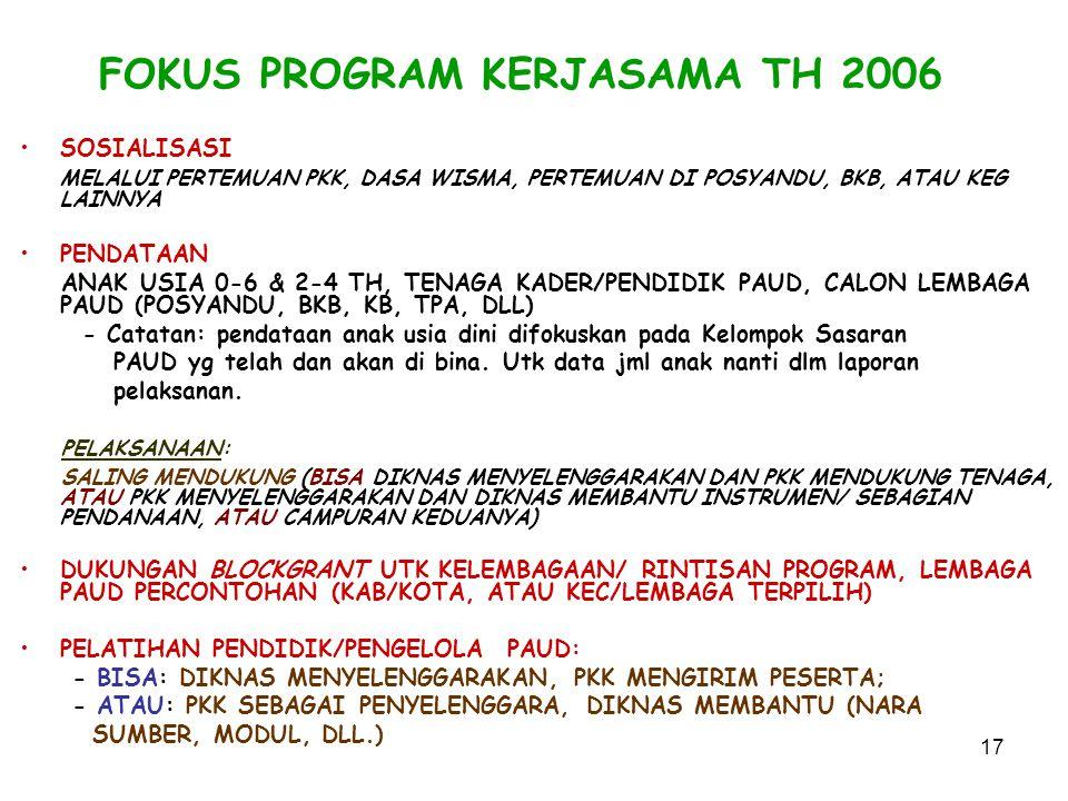 17 FOKUS PROGRAM KERJASAMA TH 2006 SOSIALISASI MELALUI PERTEMUAN PKK, DASA WISMA, PERTEMUAN DI POSYANDU, BKB, ATAU KEG LAINNYA PENDATAAN ANAK USIA 0-6 & 2-4 TH, TENAGA KADER/PENDIDIK PAUD, CALON LEMBAGA PAUD (POSYANDU, BKB, KB, TPA, DLL) - Catatan: pendataan anak usia dini difokuskan pada Kelompok Sasaran PAUD yg telah dan akan di bina.