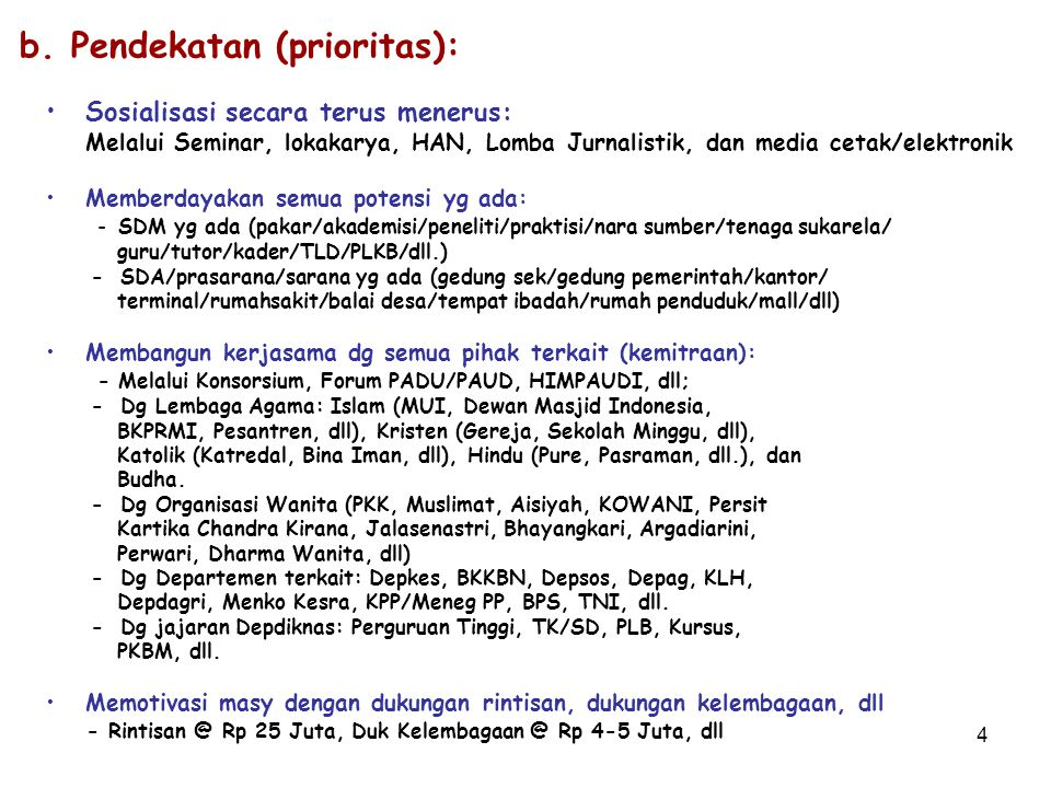4 b. Pendekatan (prioritas): Sosialisasi secara terus menerus: Melalui Seminar, lokakarya, HAN, Lomba Jurnalistik, dan media cetak/elektronik Memberda