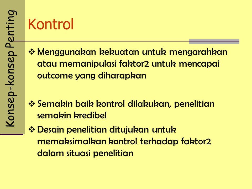 Kontrol  Menggunakan kekuatan untuk mengarahkan atau memanipulasi faktor2 untuk mencapai outcome yang diharapkan  Semakin baik kontrol dilakukan, pe