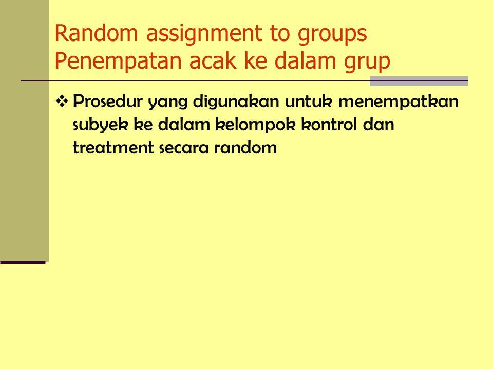 Random assignment to groups Penempatan acak ke dalam grup  Prosedur yang digunakan untuk menempatkan subyek ke dalam kelompok kontrol dan treatment secara random