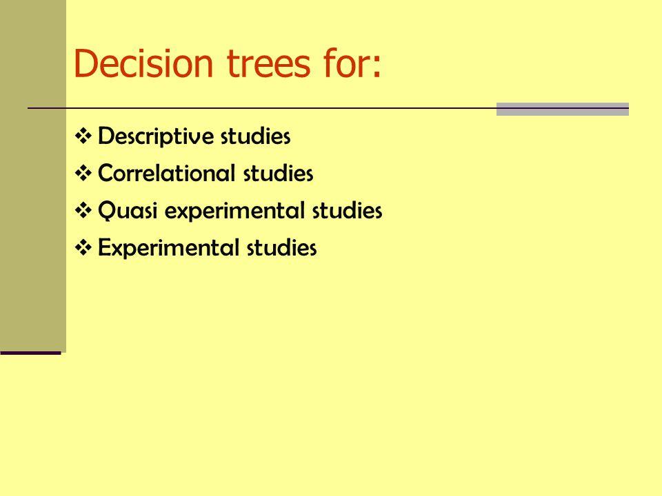 Decision trees for:  Descriptive studies  Correlational studies  Quasi experimental studies  Experimental studies