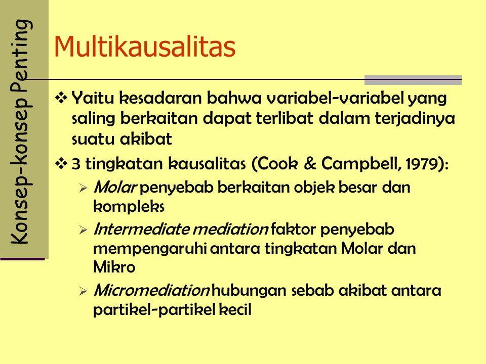 Multikausalitas  Yaitu kesadaran bahwa variabel-variabel yang saling berkaitan dapat terlibat dalam terjadinya suatu akibat  3 tingkatan kausalitas
