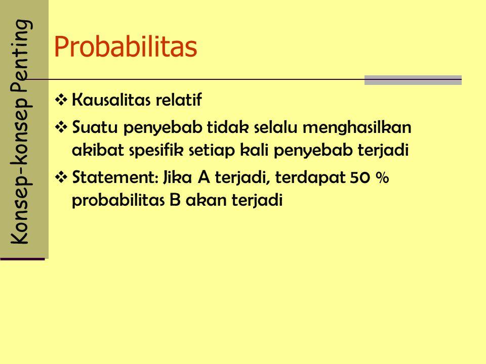 Probabilitas  Kausalitas relatif  Suatu penyebab tidak selalu menghasilkan akibat spesifik setiap kali penyebab terjadi  Statement: Jika A terjadi, terdapat 50 % probabilitas B akan terjadi Konsep-konsep Penting