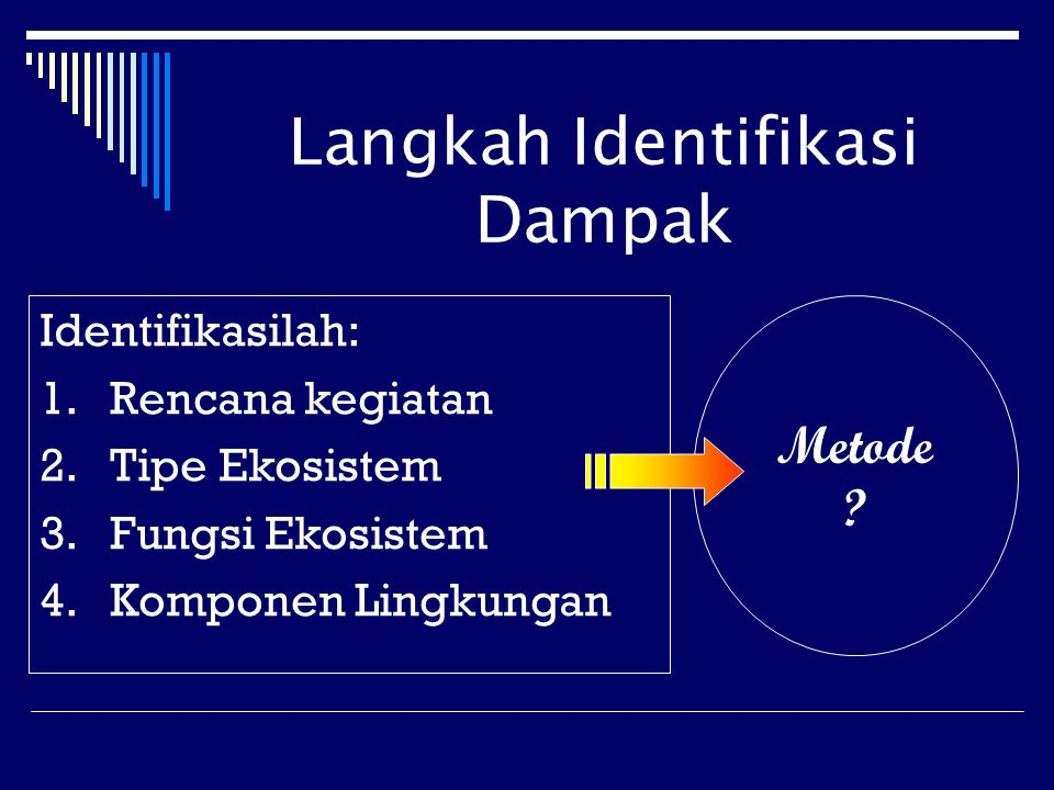 Langkah Identifikasi Dampak Identifikasilah: 1.Rencana kegiatan 2.Tipe Ekosistem 3.Fungsi Ekosistem 4.Komponen Lingkungan Metode ?