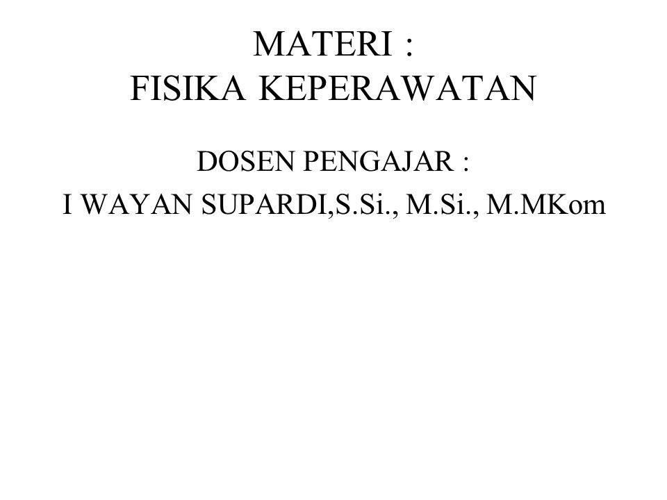 MATERI : FISIKA KEPERAWATAN DOSEN PENGAJAR : I WAYAN SUPARDI,S.Si., M.Si., M.MKom