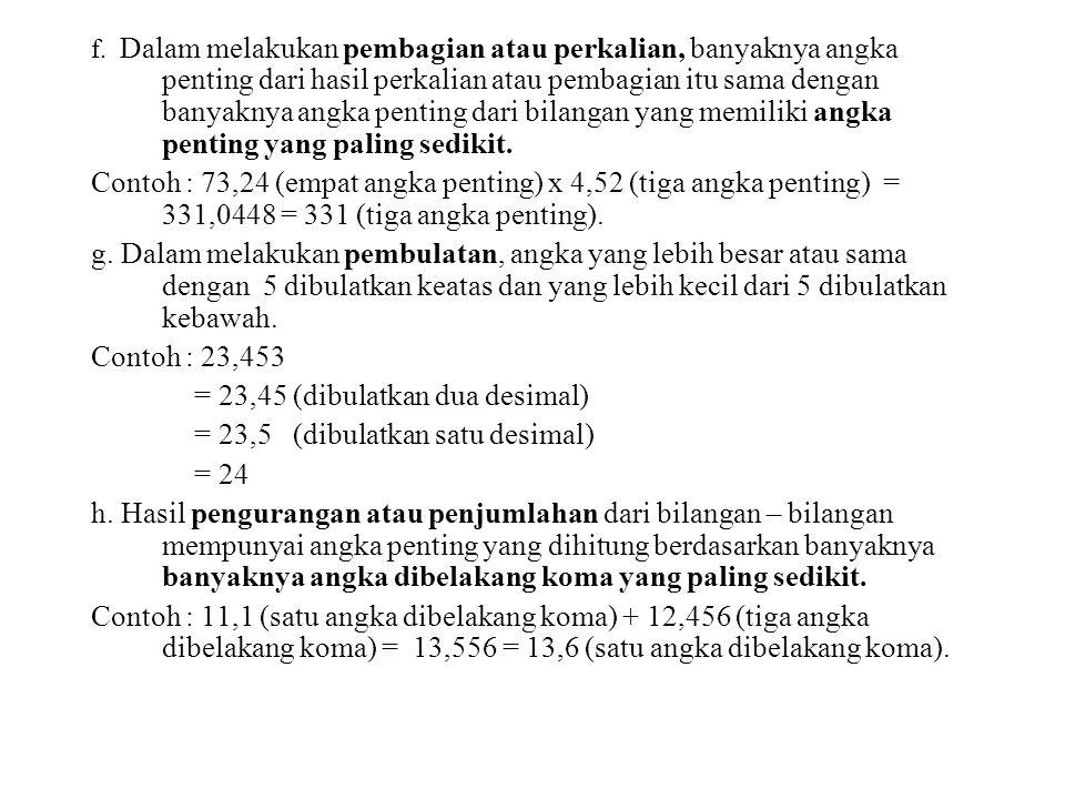 f. Dalam melakukan pembagian atau perkalian, banyaknya angka penting dari hasil perkalian atau pembagian itu sama dengan banyaknya angka penting dari