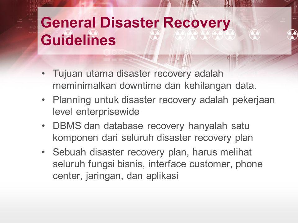 General Disaster Recovery Guidelines Tujuan utama disaster recovery adalah meminimalkan downtime dan kehilangan data. Planning untuk disaster recovery