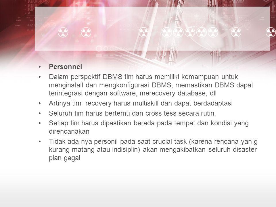 Personnel Dalam perspektif DBMS tim harus memiliki kemampuan untuk menginstall dan mengkonfigurasi DBMS, memastikan DBMS dapat terintegrasi dengan sof