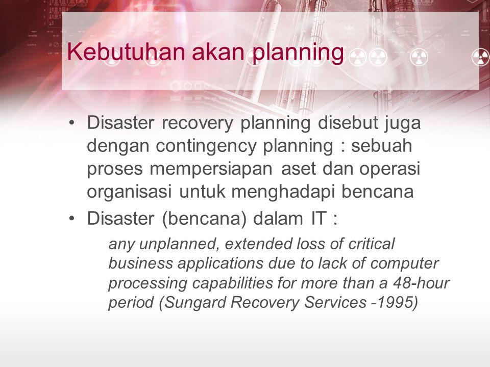 Kebutuhan akan planning Disaster recovery planning disebut juga dengan contingency planning : sebuah proses mempersiapan aset dan operasi organisasi u