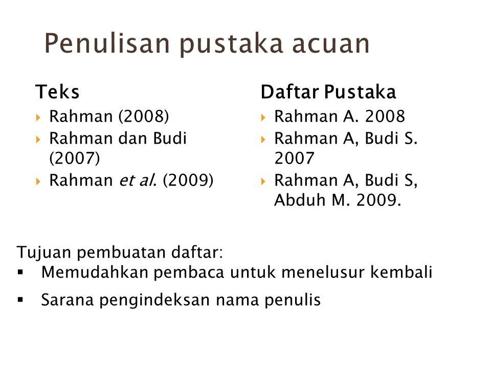 Teks  Rahman (2008)  Rahman dan Budi (2007)  Rahman et al. (2009) Daftar Pustaka  Rahman A. 2008  Rahman A, Budi S. 2007  Rahman A, Budi S, Abdu