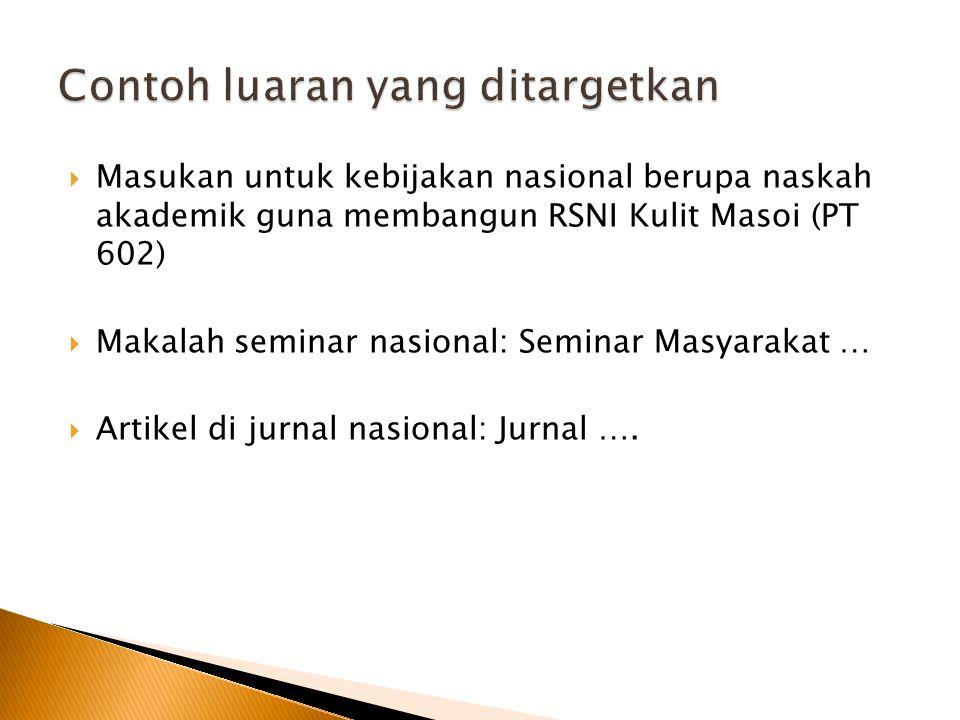  Masukan untuk kebijakan nasional berupa naskah akademik guna membangun RSNI Kulit Masoi (PT 602)  Makalah seminar nasional: Seminar Masyarakat … 