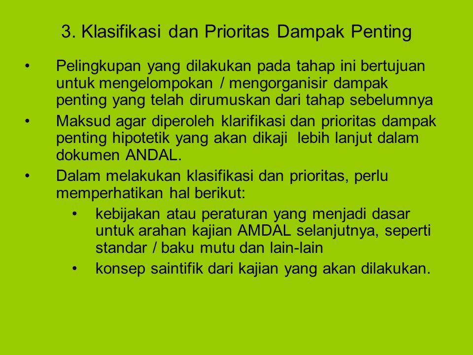 3. Klasifikasi dan Prioritas Dampak Penting Pelingkupan yang dilakukan pada tahap ini bertujuan untuk mengelompokan / mengorganisir dampak penting yan