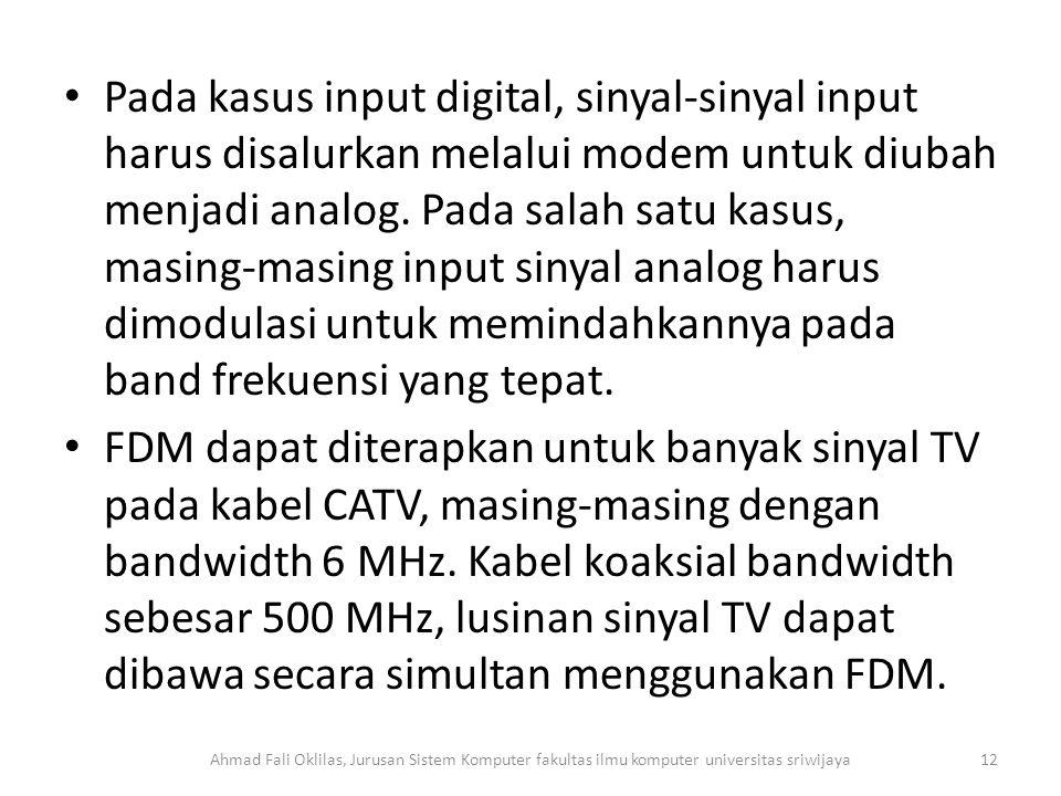 Pada kasus input digital, sinyal-sinyal input harus disalurkan melalui modem untuk diubah menjadi analog.