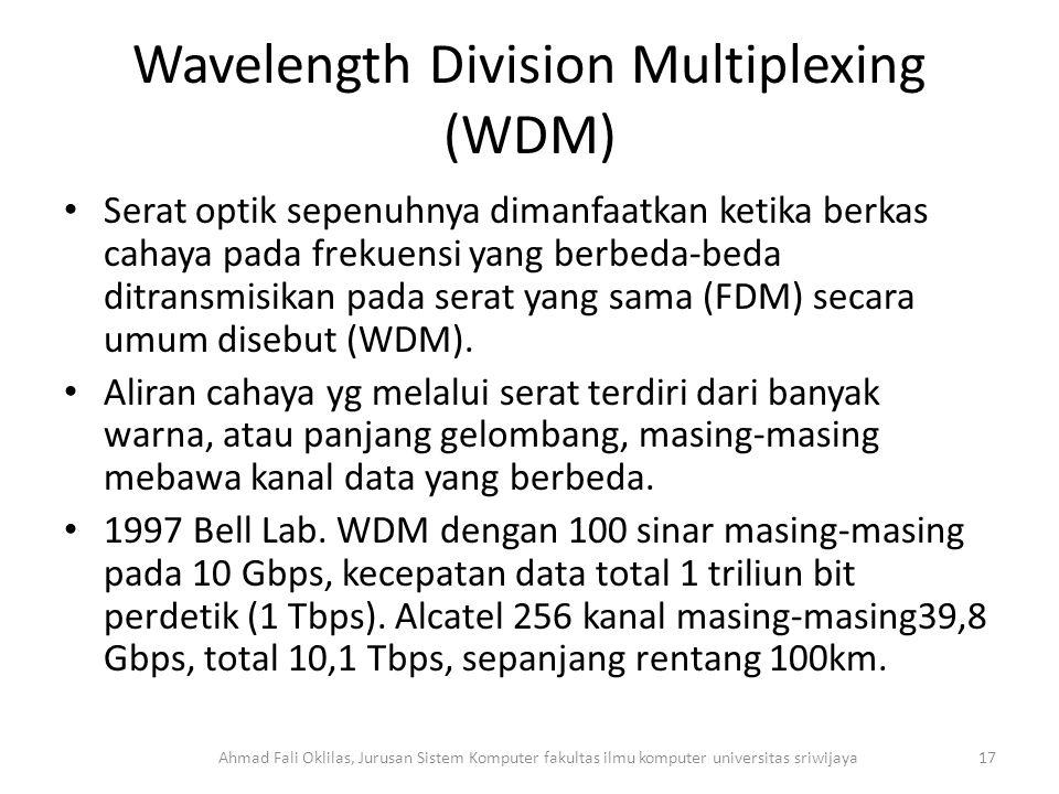 Wavelength Division Multiplexing (WDM) Serat optik sepenuhnya dimanfaatkan ketika berkas cahaya pada frekuensi yang berbeda-beda ditransmisikan pada serat yang sama (FDM) secara umum disebut (WDM).
