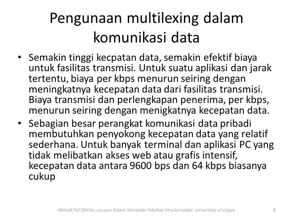 Pengunaan multilexing dalam komunikasi data Semakin tinggi kecpatan data, semakin efektif biaya untuk fasilitas transmisi.