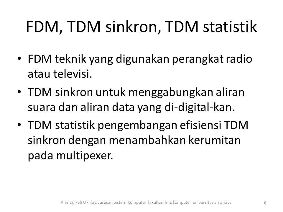 FDM, TDM sinkron, TDM statistik FDM teknik yang digunakan perangkat radio atau televisi.