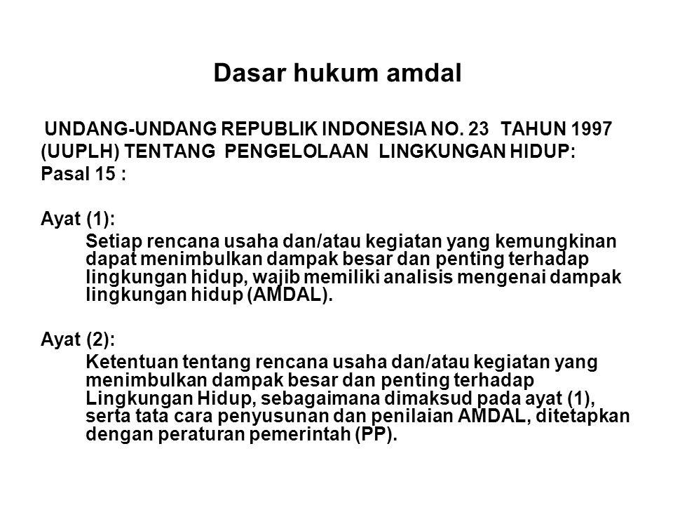 Dasar hukum amdal UNDANG-UNDANG REPUBLIK INDONESIA NO.