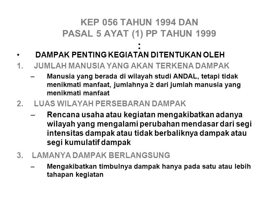 KEP 056 TAHUN 1994 DAN PASAL 5 AYAT (1) PP TAHUN 1999 : DAMPAK PENTING KEGIATAN DITENTUKAN OLEH 1.
