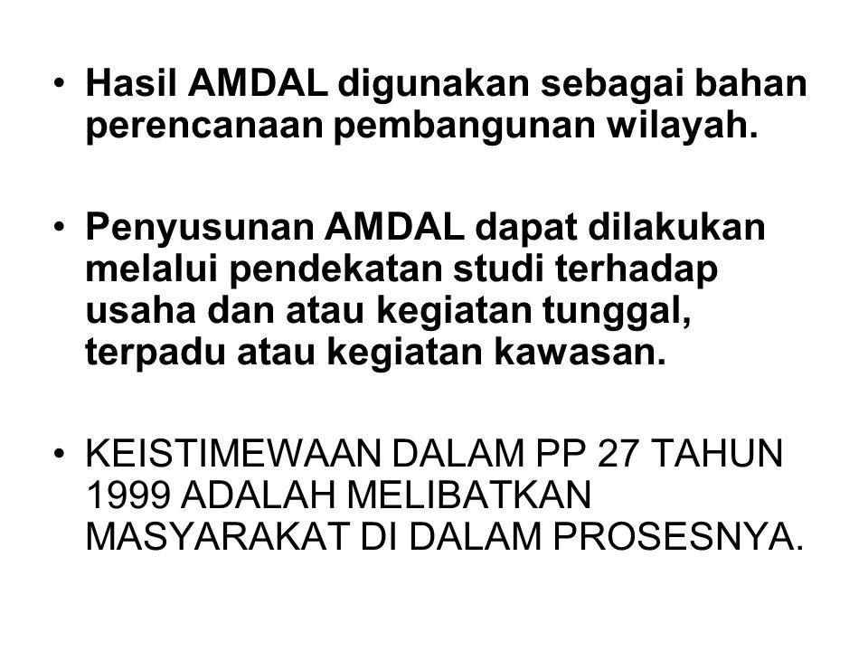 Hasil AMDAL digunakan sebagai bahan perencanaan pembangunan wilayah.