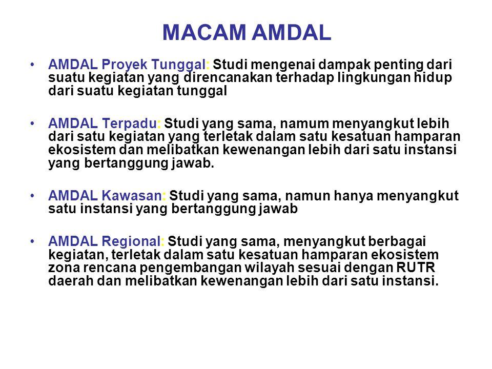 MACAM AMDAL AMDAL Proyek Tunggal: Studi mengenai dampak penting dari suatu kegiatan yang direncanakan terhadap lingkungan hidup dari suatu kegiatan tunggal AMDAL Terpadu: Studi yang sama, namum menyangkut lebih dari satu kegiatan yang terletak dalam satu kesatuan hamparan ekosistem dan melibatkan kewenangan lebih dari satu instansi yang bertanggung jawab.