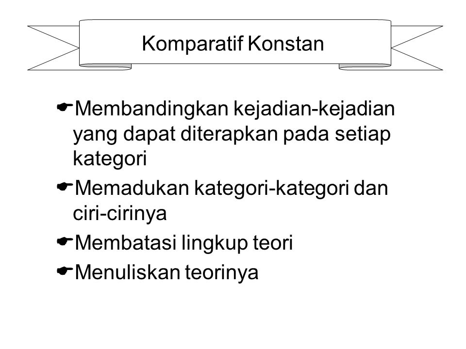 Komparatif Konstan  Membandingkan kejadian-kejadian yang dapat diterapkan pada setiap kategori  Memadukan kategori-kategori dan ciri-cirinya  Membatasi lingkup teori  Menuliskan teorinya