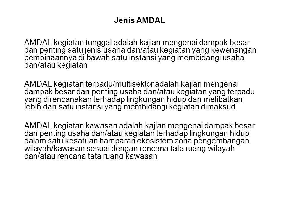 Jenis AMDAL AMDAL kegiatan tunggal adalah kajian mengenai dampak besar dan penting satu jenis usaha dan/atau kegiatan yang kewenangan pembinaannya di