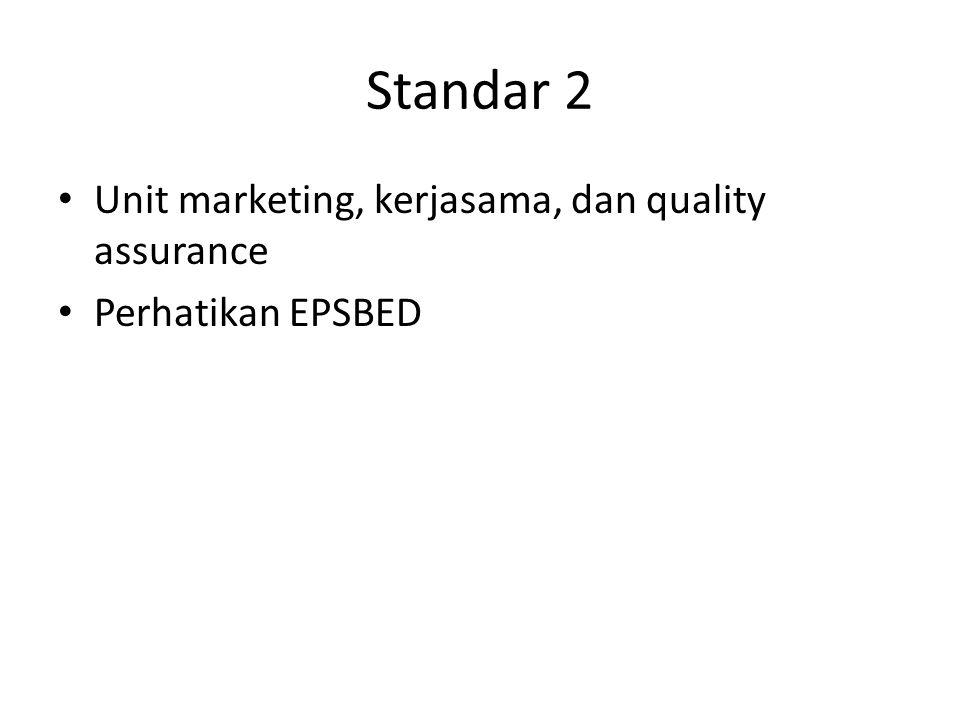 Standar 2 Unit marketing, kerjasama, dan quality assurance Perhatikan EPSBED