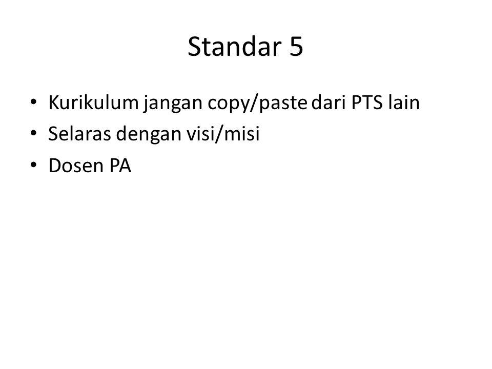 Standar 5 Kurikulum jangan copy/paste dari PTS lain Selaras dengan visi/misi Dosen PA