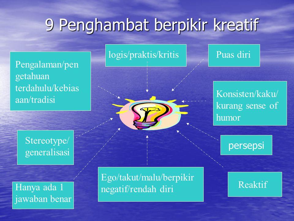 9 Penghambat berpikir kreatif 9 Penghambat berpikir kreatif logis/praktis/kritis Pengalaman/pen getahuan terdahulu/kebias aan/tradisi Konsisten/kaku/