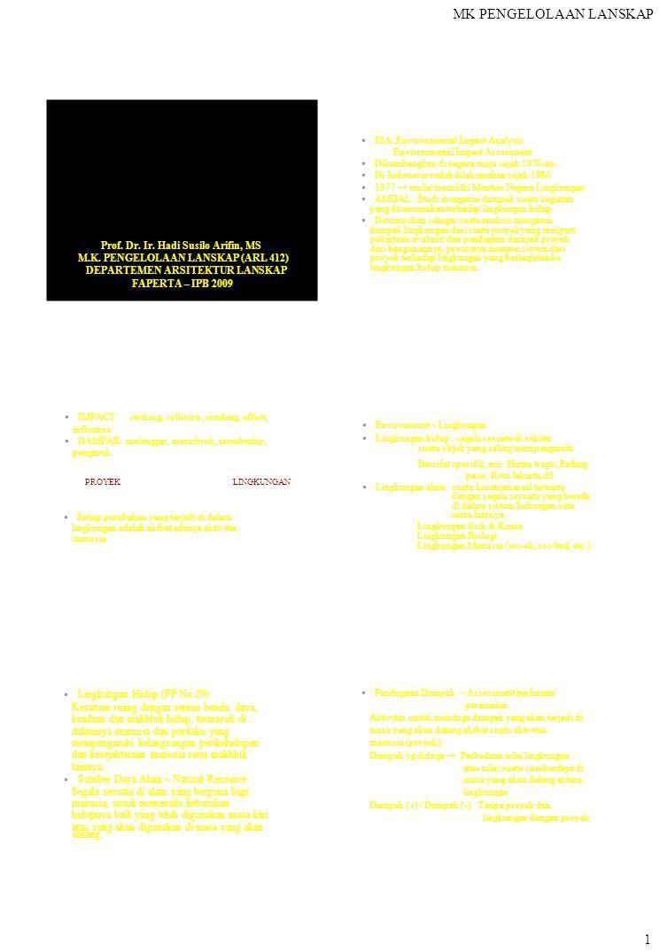 MK PENGELOLAAN LANSKAP  EIA: Environmental Impact Analysis Environmental Impact Assessment  Dikembangkan di negara maju sejak 1970-an  Di Indonesia sudah dilaksanakan sejak 1980  1977  mulai memiliki Menteri Negara Lingkungan  AMDAL : Studi mengenai dampak suatu kegiatan yang direncanakan terhadap lingkungan hidup.