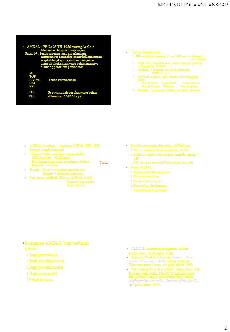 MK PENGELOLAAN LANSKAP 2  AMDAL : PP No.29 TH. 1986 tentang Analisis Mengenai Dampak Lingkungan Pasal 16 : Setiap rencana yang diperkirakan mempunya