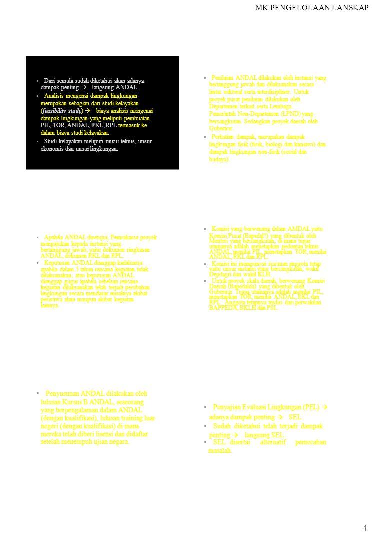 MK PENGELOLAAN LANSKAP  Dari semula sudah diketahui akan adanya dampak penting  langsung ANDAL  Analisis mengenai dampak lingkungan merupakan sebagian dari studi kelayakan (feasibility study)  biaya analisis mengenai dampak lingkungan yang meliputi pembuatan PIL, TOR, ANDAL, RKL, RPL termasuk ke dalam biaya studi kelayakan.