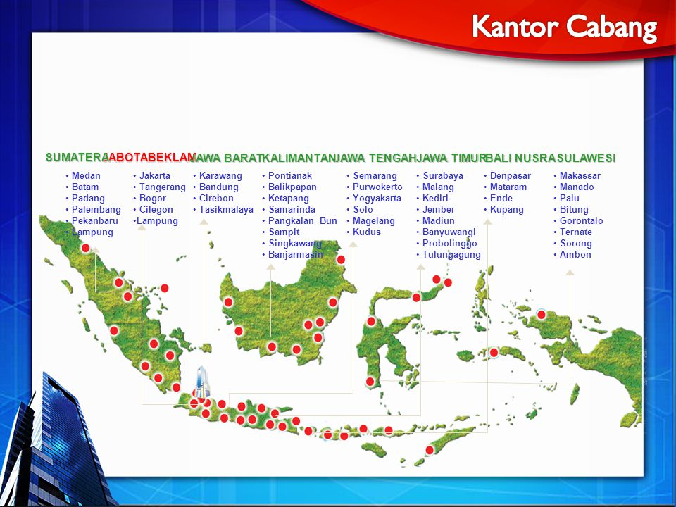 Jakarta Tangerang Bogor Cilegon Lampung Semarang Purwokerto Yogyakarta Solo Magelang Kudus Karawang Bandung Cirebon Tasikmalaya Denpasar Mataram Ende