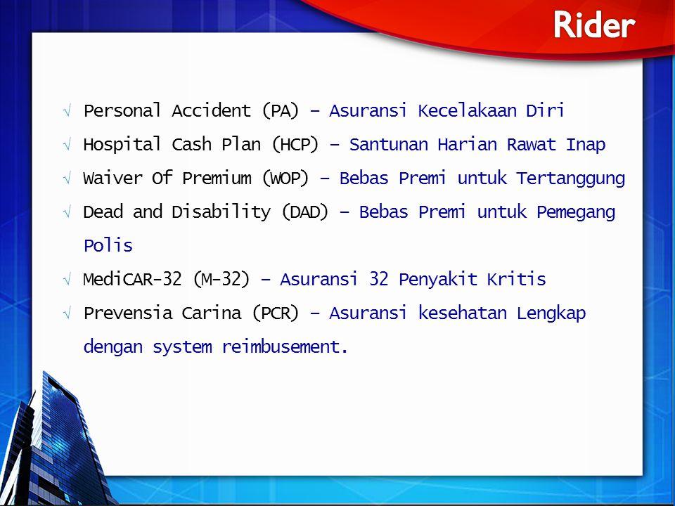 √ Personal Accident (PA) – Asuransi Kecelakaan Diri √ Hospital Cash Plan (HCP) – Santunan Harian Rawat Inap √ Waiver Of Premium (WOP) – Bebas Premi un