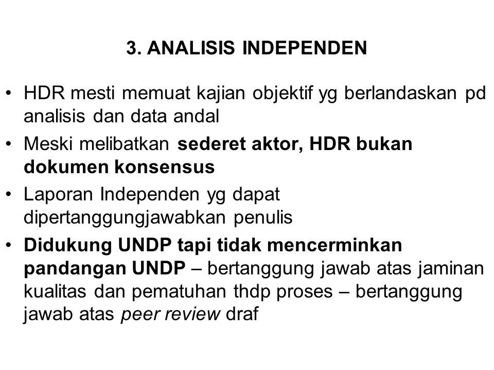 3. ANALISIS INDEPENDEN HDR mesti memuat kajian objektif yg berlandaskan pd analisis dan data andal Meski melibatkan sederet aktor, HDR bukan dokumen k