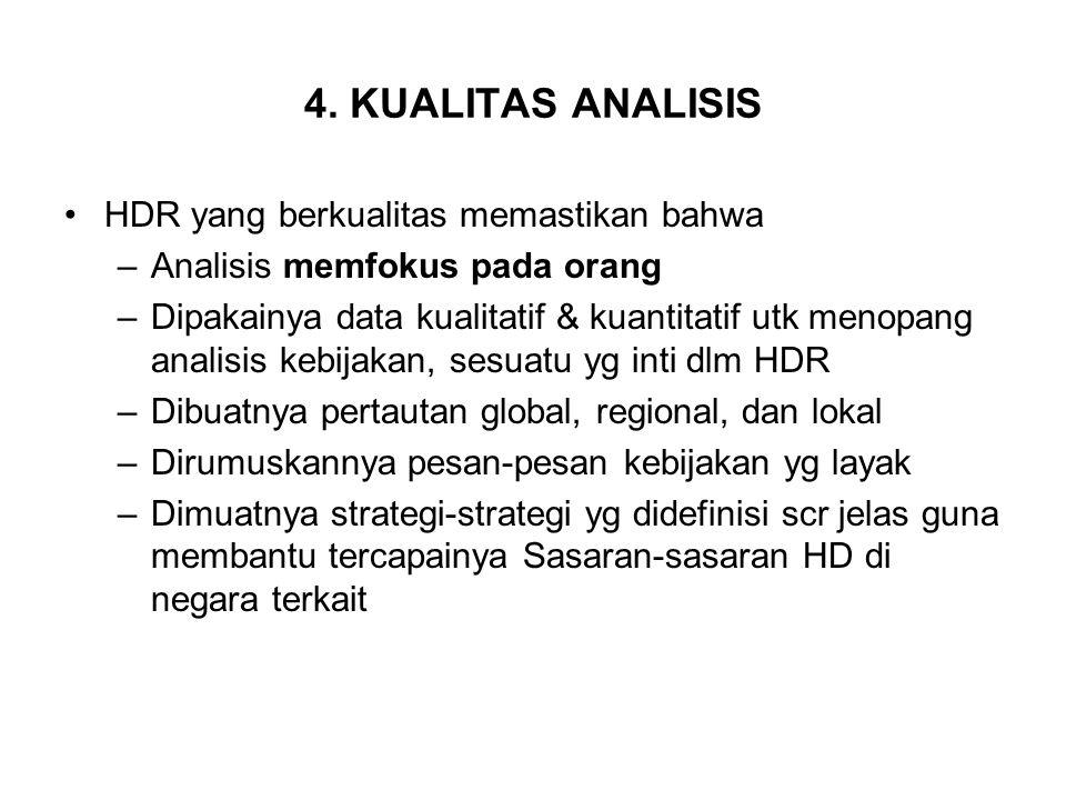 4. KUALITAS ANALISIS HDR yang berkualitas memastikan bahwa –Analisis memfokus pada orang –Dipakainya data kualitatif & kuantitatif utk menopang analis