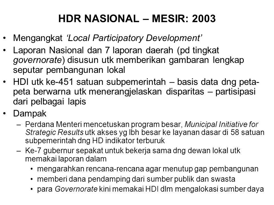 HDR NASIONAL – MESIR: 2003 Mengangkat 'Local Participatory Development' Laporan Nasional dan 7 laporan daerah (pd tingkat governorate) disusun utk memberikan gambaran lengkap seputar pembangunan lokal HDI utk ke-451 satuan subpemerintah – basis data dng peta- peta berwarna utk menerangjelaskan disparitas – partisipasi dari pelbagai lapis Dampak –Perdana Menteri mencetuskan program besar, Municipal Initiative for Strategic Results utk akses yg lbh besar ke layanan dasar di 58 satuan subpemerintah dng HD indikator terburuk –Ke-7 gubernur sepakat untuk bekerja sama dng dewan lokal utk memakai laporan dalam mengarahkan rencana-rencana agar menutup gap pembangunan memberi dana pendamping dari sumber publik dan swasta para Governorate kini memakai HDI dlm mengalokasi sumber daya