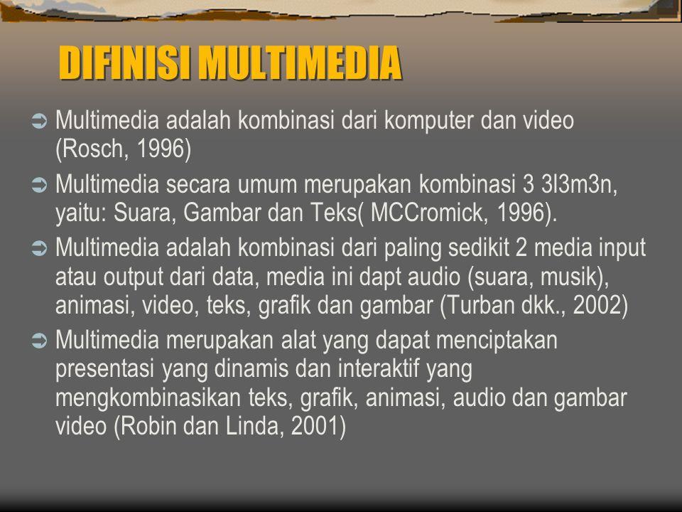 DIFINISI MULTIMEDIA  Multimedia adalah kombinasi dari komputer dan video (Rosch, 1996)  Multimedia secara umum merupakan kombinasi 3 3l3m3n, yaitu: Suara, Gambar dan Teks( MCCromick, 1996).
