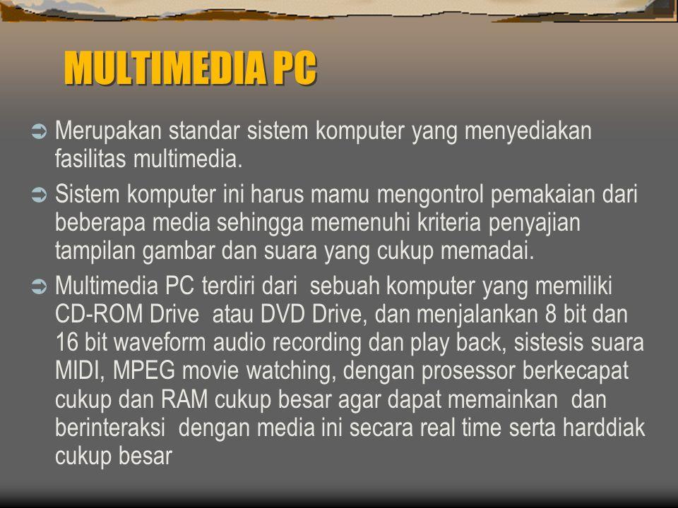 MULTIMEDIA PC  Merupakan standar sistem komputer yang menyediakan fasilitas multimedia.