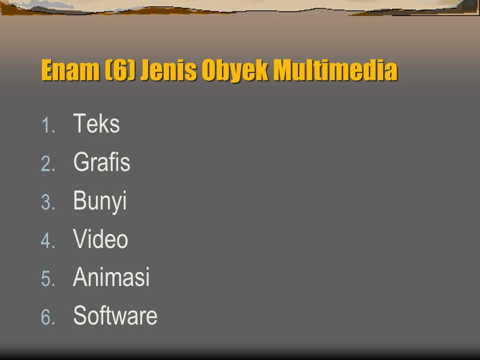Enam (6) Jenis Obyek Multimedia 1. Teks 2. Grafis 3. Bunyi 4. Video 5. Animasi 6. Software