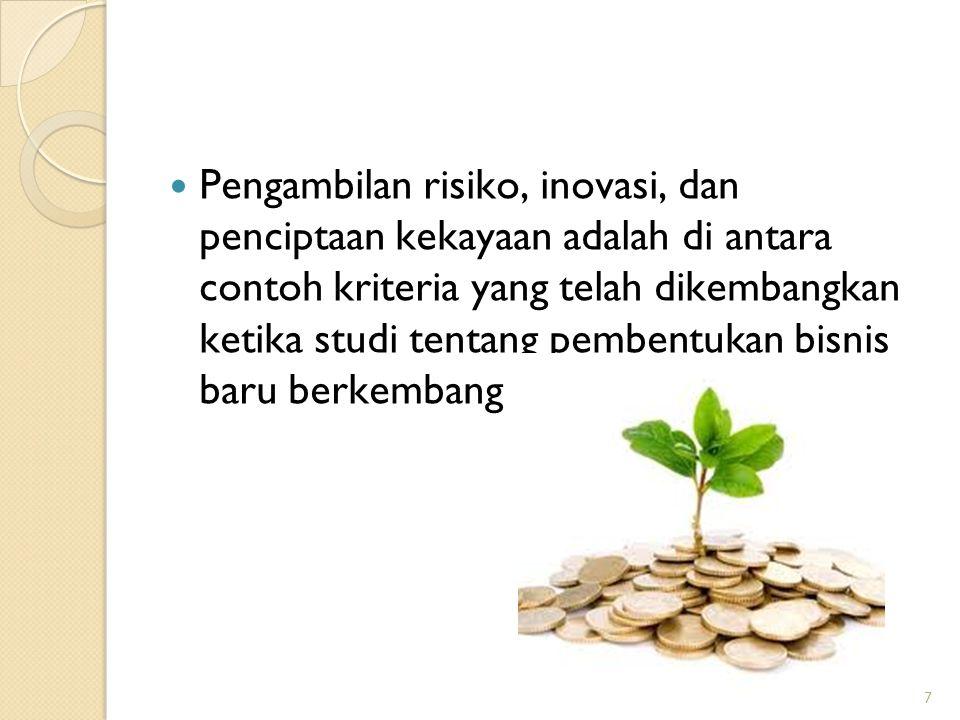 7 Pengambilan risiko, inovasi, dan penciptaan kekayaan adalah di antara contoh kriteria yang telah dikembangkan ketika studi tentang pembentukan bisni