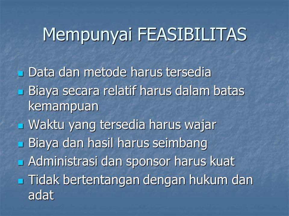 Mempunyai FEASIBILITAS Data dan metode harus tersedia Data dan metode harus tersedia Biaya secara relatif harus dalam batas kemampuan Biaya secara rel