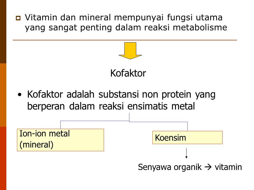  Vitamin dan mineral mempunyai fungsi utama yang sangat penting dalam reaksi metabolisme Kofaktor Kofaktor adalah substansi non protein yang berperan