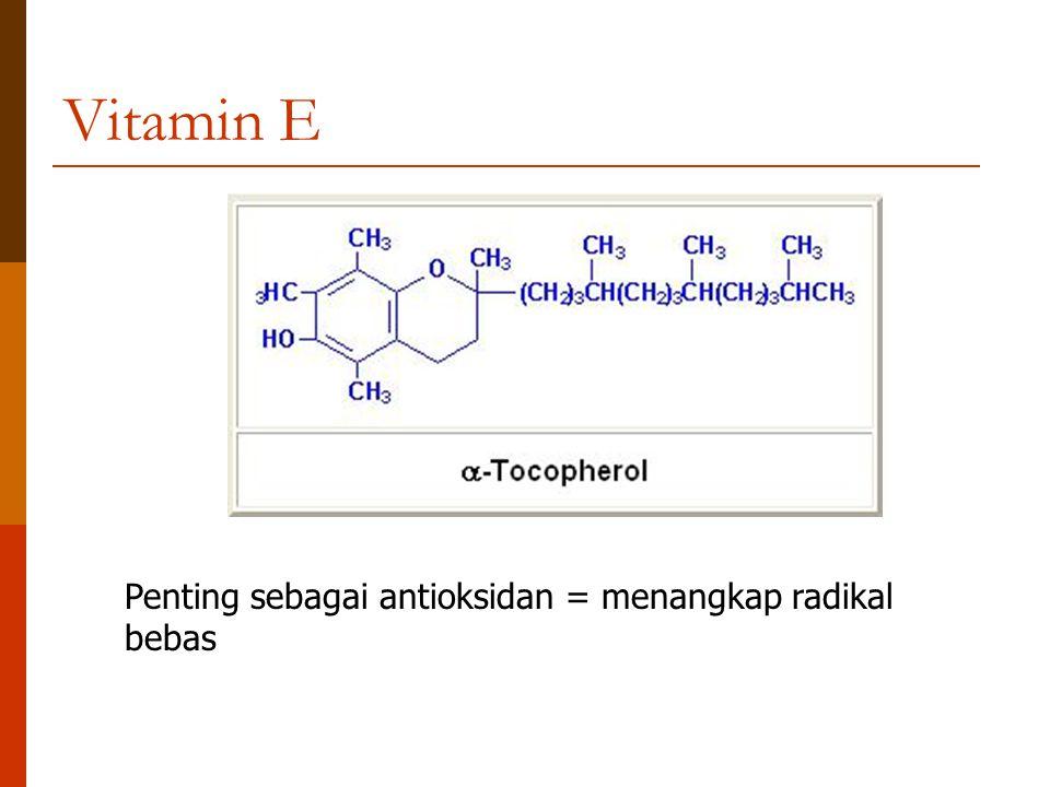 Vitamin E Penting sebagai antioksidan = menangkap radikal bebas