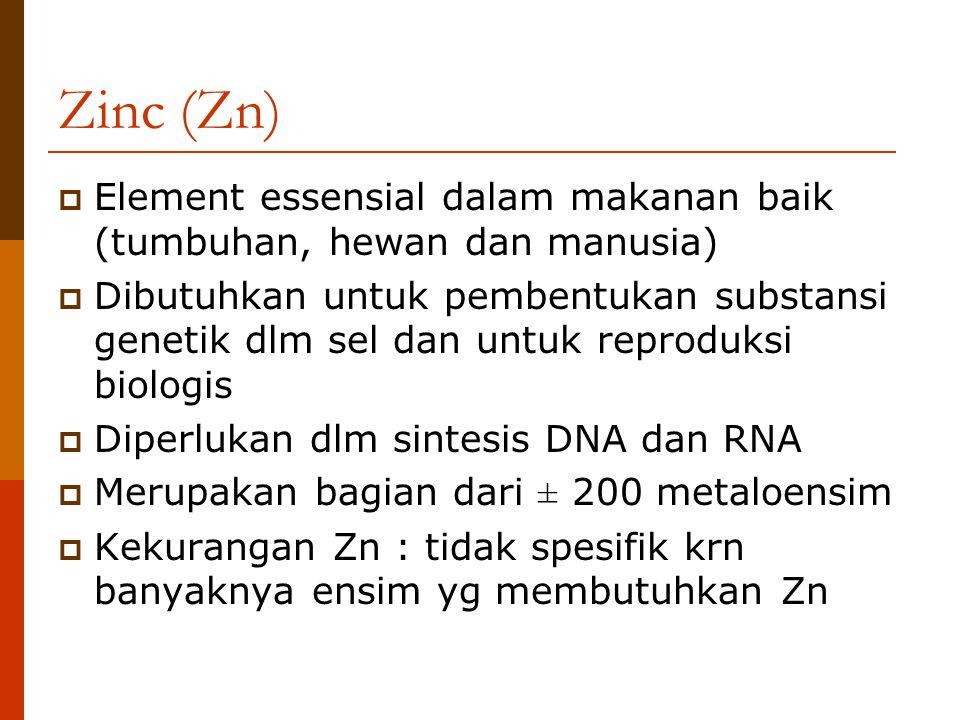 Zinc (Zn)  Element essensial dalam makanan baik (tumbuhan, hewan dan manusia)  Dibutuhkan untuk pembentukan substansi genetik dlm sel dan untuk repr