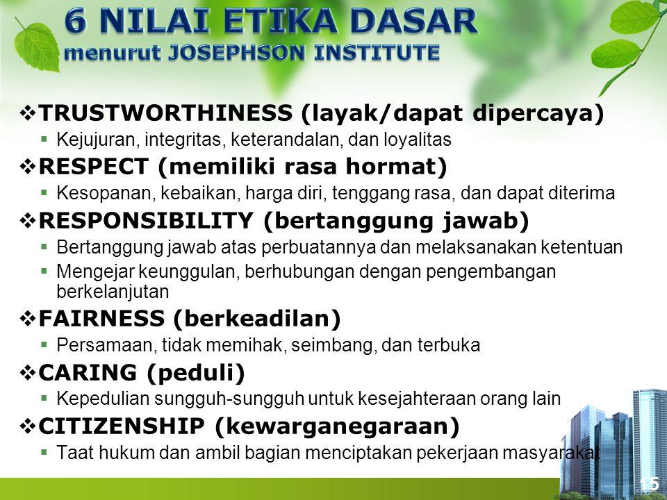 15  TRUSTWORTHINESS (layak/dapat dipercaya)  Kejujuran, integritas, keterandalan, dan loyalitas  RESPECT (memiliki rasa hormat)  Kesopanan, kebaik