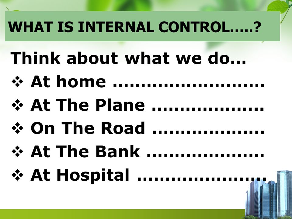 WHAT IS INTERNAL CONTROL…...Think about what we do…  At home ………………………  At The Plane ………………..