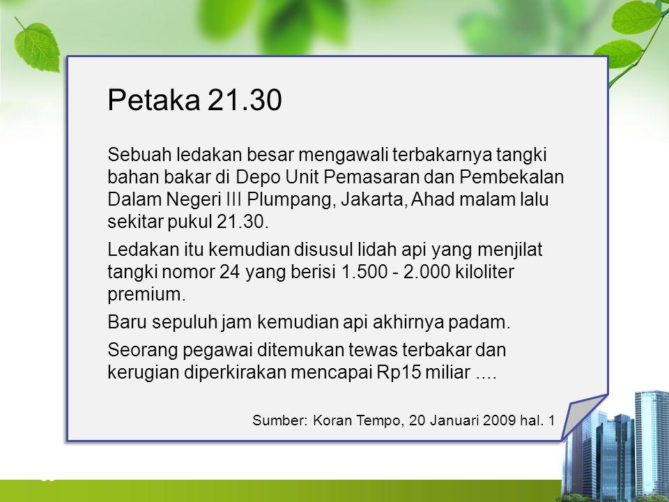 36 Petaka 21.30 Sebuah ledakan besar mengawali terbakarnya tangki bahan bakar di Depo Unit Pemasaran dan Pembekalan Dalam Negeri III Plumpang, Jakarta